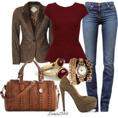 LOVE....WANT Tweed fitted blazer, wine peplum top, med rinse skinny jeans, taupe pumps.