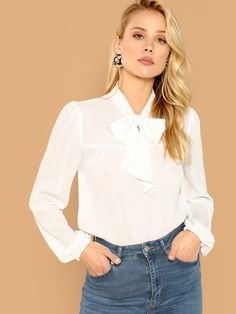 To find out about the Tie Neck Blouson Sleeve Sheer Top at SHEIN, part of our latest Blouses ready to shop online today! Blouse En Satin, Tie Neck Blouse, Romwe, Plain Tops, Spring Shirts, White Style, White Long Sleeve, Black Tie, Female Models
