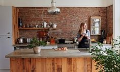 Bare brick walls, poured concrete work surfaces, Ikea units faced with reclaimed boards. This North London kitchen was once a bedroom. Dining Decor, Dining Area, Ikea Units, Freestanding Kitchen, Home Scents, Grey Walls, Brick Walls, Small Apartments, The Guardian