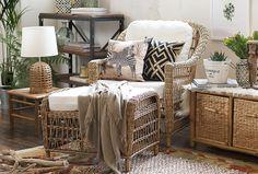 #Salvaje, #atrevido, #exótico y muy #natural, el estilo #Étnico te va a encantar. #DecoBazar #Terraza #Ratán #Cebra Rattan, Outdoor Furniture Sets, Outdoor Decor, Throw Pillows, Living Room, Bed, House, Home Decor, Natural