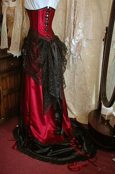 Cassandra burgundy and black wedding dress by BoundByObsession