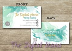 Business card consultant business cards design customized front watercolor etsy business card design front back business card design 35x2 business reheart Choice Image