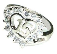 Quinceanera15 Anos Crystal Heart Ring. --- $29.95 + 3.95 shipping