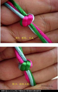 中国结 原创新结---三线六瓣双联结徒手教程 基本结-新手入门必看 100628194959553b2c0956b805 5 Bracelet Knots, Bead Loom Bracelets, Macrame Knots, Micro Macrame, Friendship Knot, Braided Waves, Paracord Knots, Diy Braids, Braids With Weave