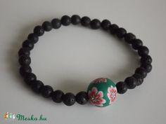 """""""Hawaii"""" karkötő, nyár, tavasz, frangipáni, virág, ásvány, gyöngy, ajándék, lánynak, Ékszer, óra, Karkötő, Meska"""