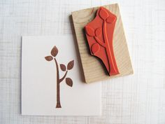 Leafy Tree Rubber Stamp, Handmade Tree Leaves Branches Stamp, Wood Mounted. $8.00, via Etsy.