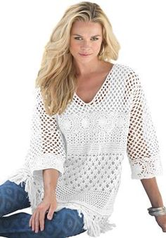 Crochet Fringe Tunic by Denim 24/7® | Plus Size Tunics | Roamans