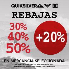 20% de descuento adicional a lo ya rebajado en Quiksilver. Hasta el 08 de febrero.