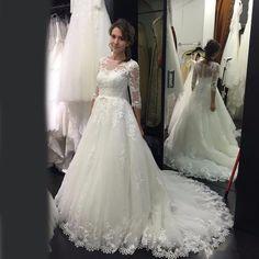 Plus Size White/Ivory Lace applique 3/4 Sleeve Bridal Gown Wedding Dress Custom