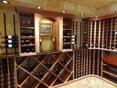 WineRacks.com's custom mahogany wood racks with metal VintageView racks