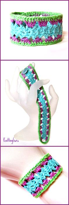 When it gets too hot for heavy jewelry, you'll enjoy wearing this easy to crochet cuff bracelet. Looks great in so many color combinations and costs only pennies to make!