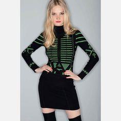 Fab.com | Printed Knit Top Black Green