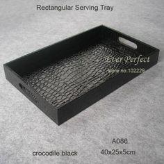 16'' rectangular leather serving storage fruit tray bread tray tableware organization black A086 on AliExpress.com. $35.00
