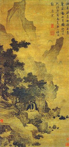 """""""Watching the Spring and Listening to the Wind"""" (看泉聽風圖), painted by Tang Yin (唐寅; 1470-1523 AD), Ming Dynasty. Tang is one of the most notable painters in Chinese art history. He is one of the """"Four Masters of Ming dynasty"""" (Ming Si Jia), which also includes Shen Zhou (1427–1509), Wen Zhengming (1470–1559) and Qiu Ying (ca. 1495-1552). Tang was also a talented poet. Nanjing Museum."""