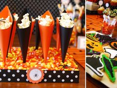 Easy treat cone DIY for your Halloween dessert table #birthday #party #candy #theme #dessert  #decoration #buffet #cone #halloween #fall party-themes-buffets