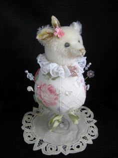 Handmade Artist Teddy Bear pin cushion