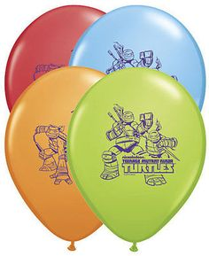 """Included: 10 Balloons Total 11"""" """"Teenage Mutant Ninja Turtles"""" Latex Balloons Print is on 2 sides Colors include Red, Light Blue, Orange, Lime Green Print is Blue These items may arrive flat or in ret"""