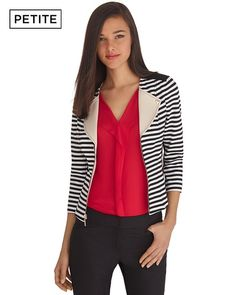 White House | Black Market 3/4 Sleeve Stripe Ponte Moto Jacket  COOL Jacket...looks great with bold color. How to accessorize?