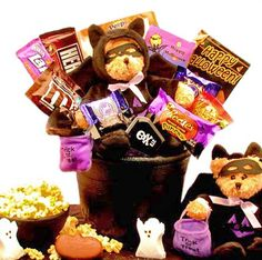 Batty Bear Halloween Treak or Treat Candy Gift Basket - Great Care Package for College Kids