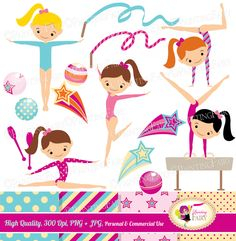 Little Girl Gymnasts Clip Art Set girls Cliparts Cute dress rhythmic gymnastic acrobatic Sport ribbon elements Digital Papers pf00064-1a by PaintingFairyClipart on Etsy https://www.etsy.com/listing/176879197/little-girl-gymnasts-clip-art-set-girls