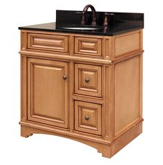 <p> Constructed of maple wood and veneer. Single sink bathroom vanity. 30x21x34. Light maple finish.</p>
