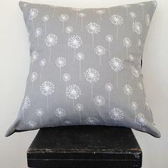 Ash grey dandelion cushion cover by Black Eyed Susie