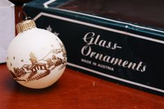 Vintage landscape christmas glass ornaments hand painted tree decoration made in Austria