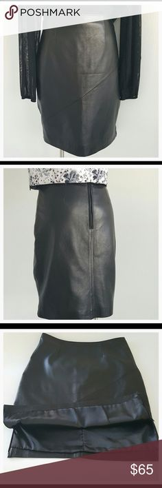 Pelle Studio 100% Black leather pencil skirt Beautiful 100% leather black pencil skirt. Very sexy. Great with boots and a light jacket or blouse. Or dress for summer with a beautiful royal blue, pink, black or white short sleeved semi sheer top.  Throw on a pair of cute tennis shoes or sandals and you're ready to go. See all descriptions for this item in photo 5. Read all descriptions and look at photos carefully. Reposh. Click like on this or any other items in my closet, and follow me!, To…