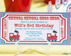 Vintage Train Ticket Invitation- Custom, Printable Digital Birthday Invitation
