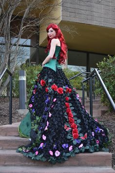 Dc Comics, Batman. Character: Poison Ivy. Version: Long Floral Dress. Cosplayer: Bethany Eldridge 'aka' Art Vixen 88 'aka' RougeLeaderRed 'aka' Kaizokukushi. From: Nashville, Tennessee, US. Event: Anime Blues Con 2014.