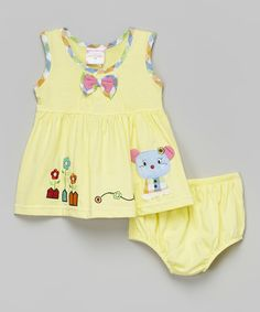 Look what I found on #zulily! Yellow Mouse Dress & Diaper Cover - Infant #zulilyfinds