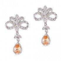 Vixity Collections C.Z. Sterling Silver Champagne and White Vintage-style Chandelier Earrings