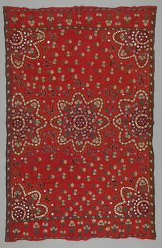 Shawl Local Name: abochchani Place Made: Asia: South Asia, Pakistan, Sindh Period: Early 20th century Date: 1900 - 1930 Dimensions: L 208 cm x W 132 cm Materials: Silk; glass mirror Techniques: Plain woven; hand-sewn; mirror work; embroidered