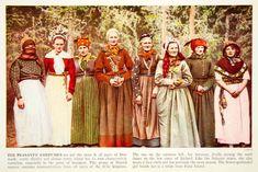1938 Color Print Danish Women Costume Traditional Dress of Sonderjylland