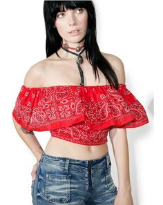 Fiery Crossroads Crop Top ...this is where we diverge, babe. This ultra sweet cropped top features a bright red bandana print construction, stretchy off-the-shoulder sleeves, and flouncy ruffled overlay.