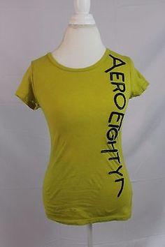 Aeropostale-Womens-Short-Sleeve-Tshirt-size-Medium-Lime-Green-Top-Cap-Sleeve