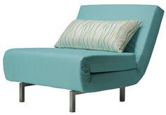 Cortesi Home Savion Convertible Accent Chair Bed, Aqua Blue