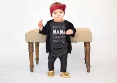 "How stylish is sweet Emily in our ""Ain't no Mama like the one I got"" dark grey shirt. Love her! Shirt sizes ranges from 3M-8yrs. Hope everyone is enjoying their lovely weekend | Shop www.stellar-seven.com |  #stellarseven #aintnomamaliketheoneigot #ig_kids #babyootd #babyfashion #instagram_kids #kidsfashion #fashionkids #baby #kids #shopsmall #smallbusiness"