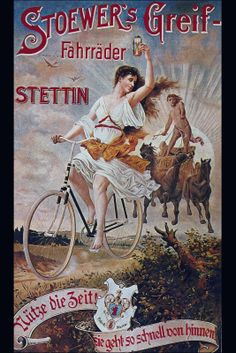 Stoewer's Greif Fahrrader Bicycle 1900 Art Nouveau Vintage Lithograph Poster Transportation Ad To Frame Bike Poster, Poster Art, Print Poster, Vintage Cycles, Vintage Bikes, Vintage Advertisements, Vintage Ads, Antique Bicycles, Posters Vintage