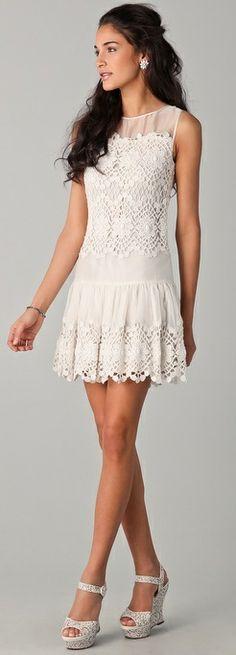 Red Valentino white crochet dress, $885