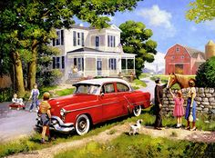 """A Stop to Say Hello"" ~ a 500 piece jigsaw puzzle by SunsOut Puzzles."