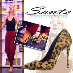 Η Maria Iliaki #SanteLovers στο Deste tous με Sante Shoes γόβα μυτερή animal print