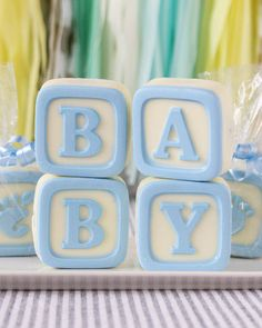 Shower your guests with adorable treats; these baby blocks white chocolate covered oreo cookies are sweet in more ways than one!