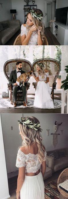 two piece wedding dress with off the shoulder lace top #weddingdress #weddinginspiration #bridalfashion