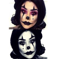 Clown makeup for halloween cute\/sexy\/creepy all at the same time! Halloween Horror Nights, Halloween Inspo, Halloween Looks, Halloween 2015, Spirit Halloween, Halloween Rave, Halloween Costumes, Circus Makeup, Scary Clown Makeup