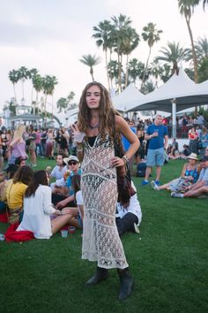 Crocheted maxi-dress that I actually haven't seen in every best-of slide show (most of them are the same girls over, and over, and over) - Coachella 2015
