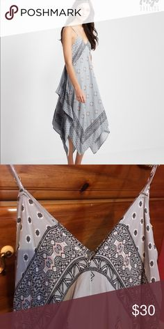 Diamond Tile Dress Gray patterned dress with very flowy bottom, never worn. Size S/M Aeropostale Dresses Maxi