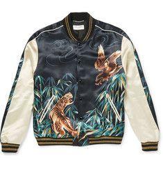 Saint Laurent - Printed Satin Varsity Jacket
