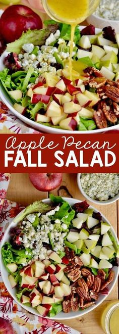 This Apple Pecan Fall Salad is perfect for autumn, topped with a honey mustard d. This Apple Pecan Fall Salad is perfect for autumn, topped with a honey mustard dressing this is perfect for a holiday or just a hearty lunch! Healthy Salad Recipes, Vegetarian Recipes, Cooking Recipes, Healthy Meals, Lunch Salad Recipes, Salad Recipes For Parties, Healthy Chicken, Seafood Recipes, Fall Recipes