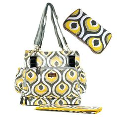 Set of 3 Yellow and Grey Designer Diaper Bag  Baby by Ajobebe, $120.00